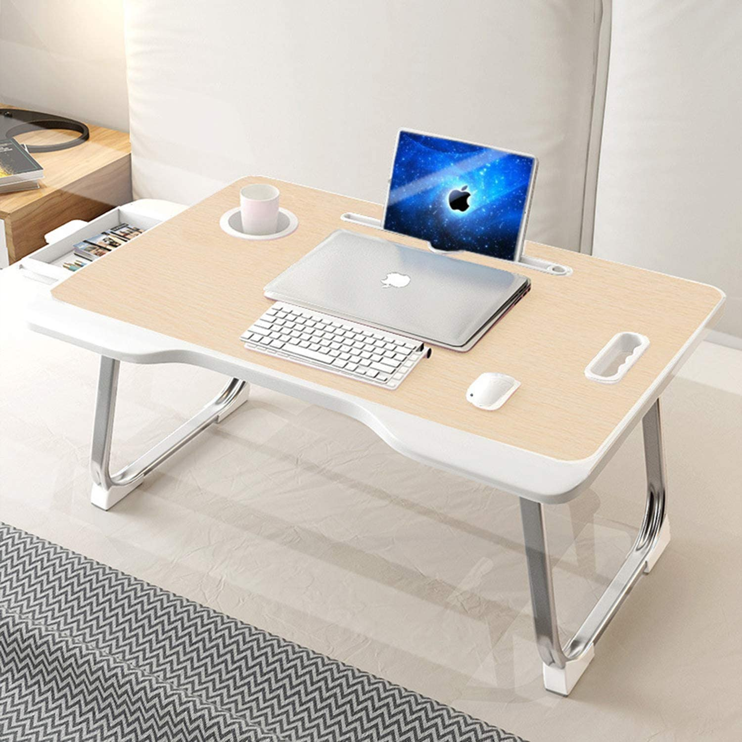 Laptop Desk with Drawer, Astory Portable Laptop Bed Tray Table Notebook Stand Reading Holder Built in Convenient Handle & Foldable Legs & Cup Slot for Bed/Sofa/Couch/Floor (Beige)