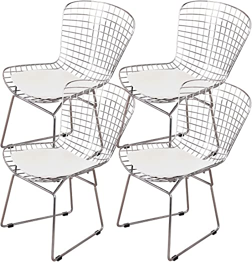 MLF Harry Bertoia Wire Side Chair Set of 4 . Chromed Wire Frame with Plastic Feet PU Leather Cushion. White Cream