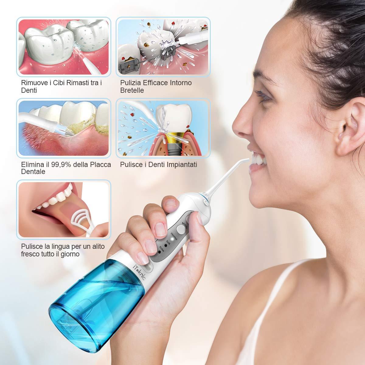 Idropulsore Dentale Portatile da 300ml, iTeknic Idropulsore Orale Portatile Ricaricabile USB Professionale Idrogetto Portatile con 3 Modalità 4 Beccucci per Pulizia Dentale Igiene Dentale
