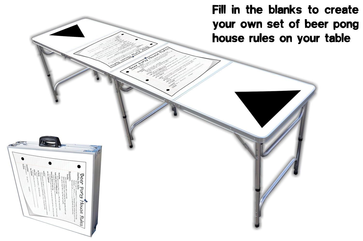 8-Foot Professional Beer Pong Table - House Rules Graphic