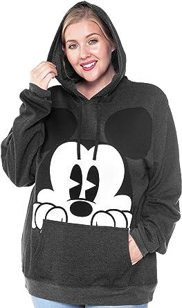 Disney Minnie Mouse  Head  Zip Up String Hoodie Adult Women/'s Black Jacket Sz S