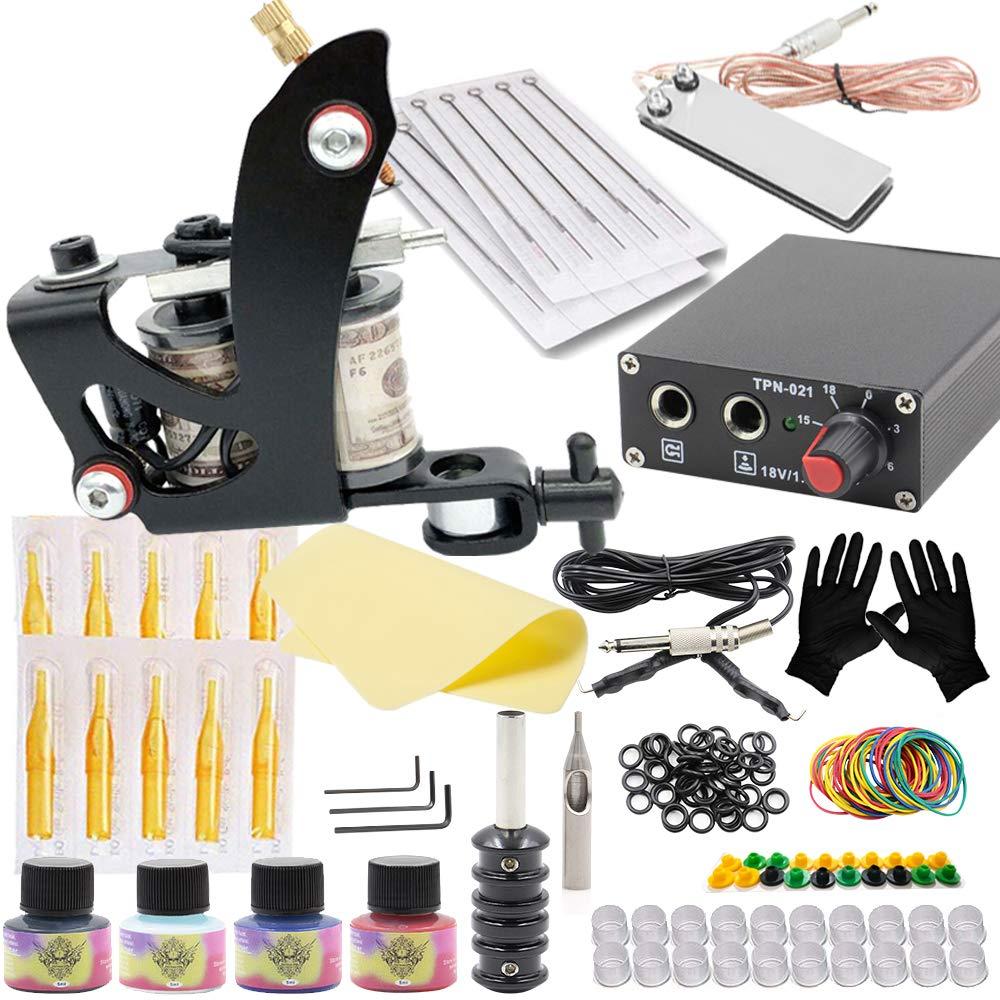 Tattoo Machine Kit, SOTICA Complete Tattoo Kit Tattoo Gun Kit Coils Machine Kit with Tattoo Power Supply Tattoo Foot Pedal Tattoo Needles Tattoo Ink for Lining Shading Permanent Makeup Tattoo Supply