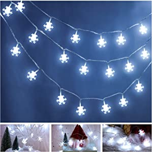 60 LED 19.6 Feet Christmas Snowflake String Light Cold White Snowflake LED Christmas Fairy String Light Battery Operated for Christmas Garden Patio Bedroom Party Indoor Outdoor Celebration Decoration