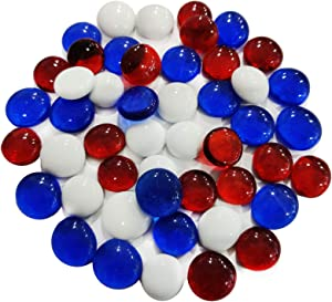 HappyFiller 5 LB Fire Glass for Fire Pit,Flat Glass Marbles Gems Nuggets for Crafts,Mosaics,Table Scatter,Vase Fillers,Aquarium or Candle Holder Decor,Around 500 pcs(White Royal Blue Red)