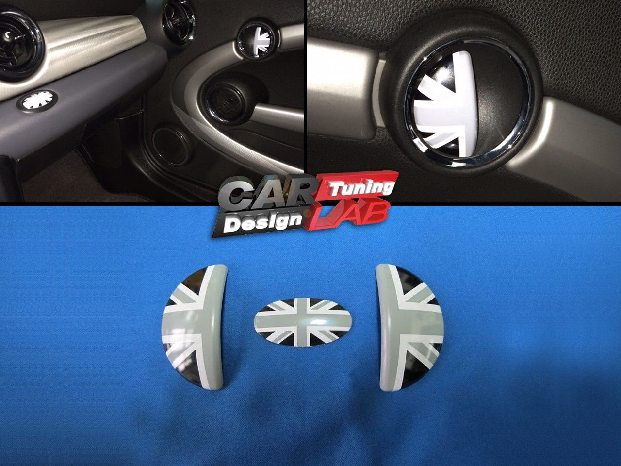 (3) Black Union Jack Aluminum Interior Door Handle Cover for S R55 R56 CarLab