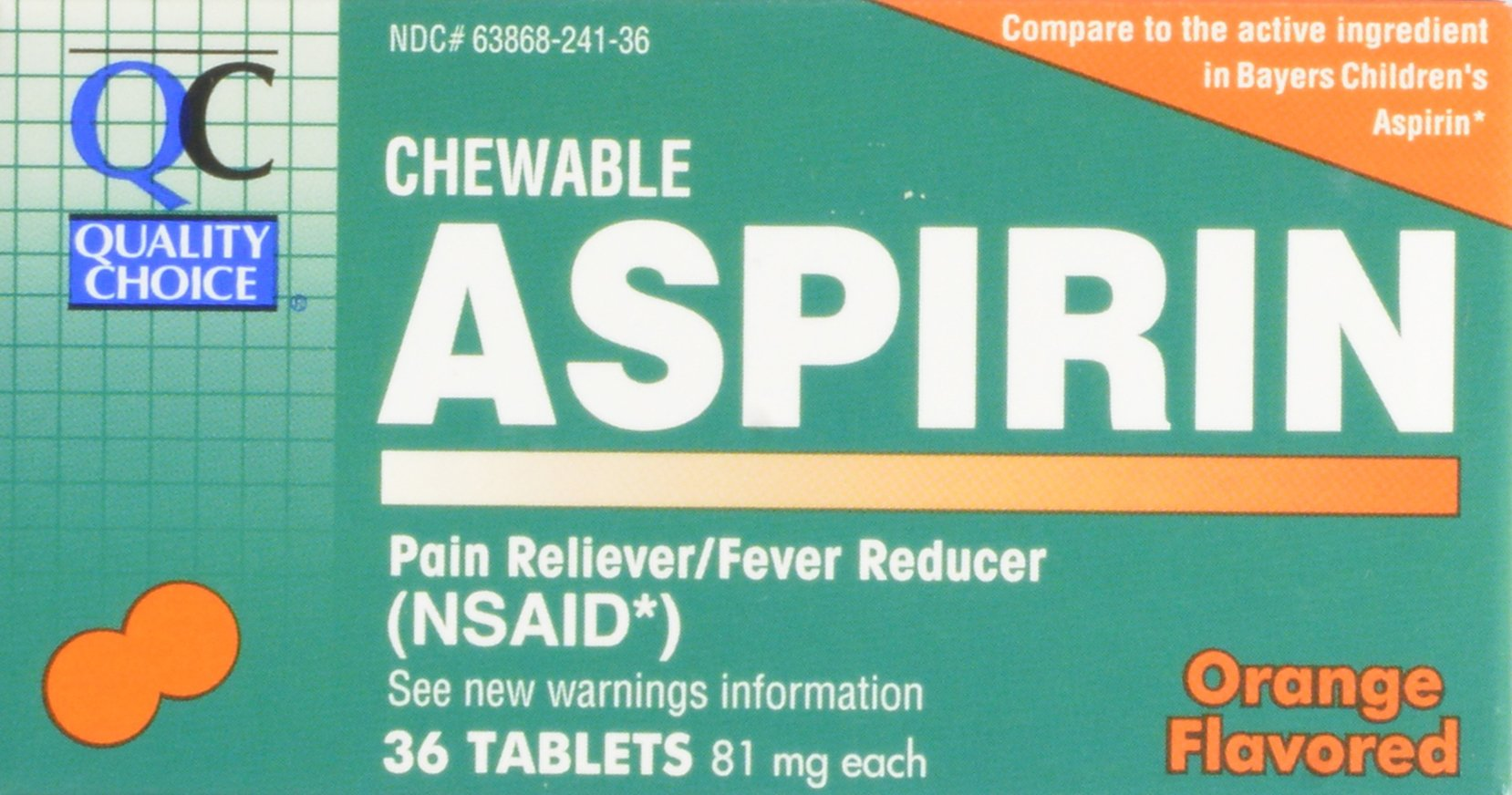 Quality Choice Children's Chewable Orange Flavored 81mg. Aspirin Tablet 36-Count Boxes (Pack of 24)