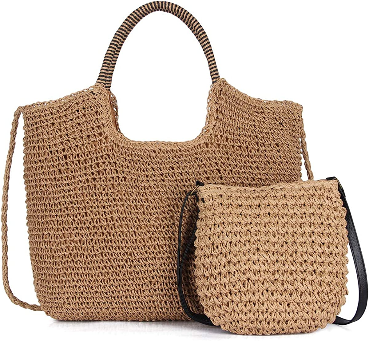 Angel Barcelo Hand-Woven Straw Large Hobo Bag for Women Round Handle Ring Toto Retro Summer Beach Straw Bag with a Clutch Bag