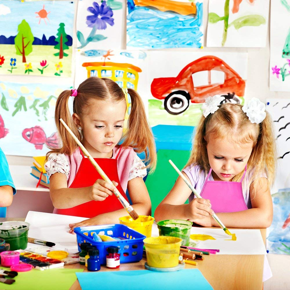 Classroom in Kitchen Crafts and Art Painting Activity 15 Colours 15 Pieces Middle Size Kids Painting Apron for Ages 5 to 10 Community Event