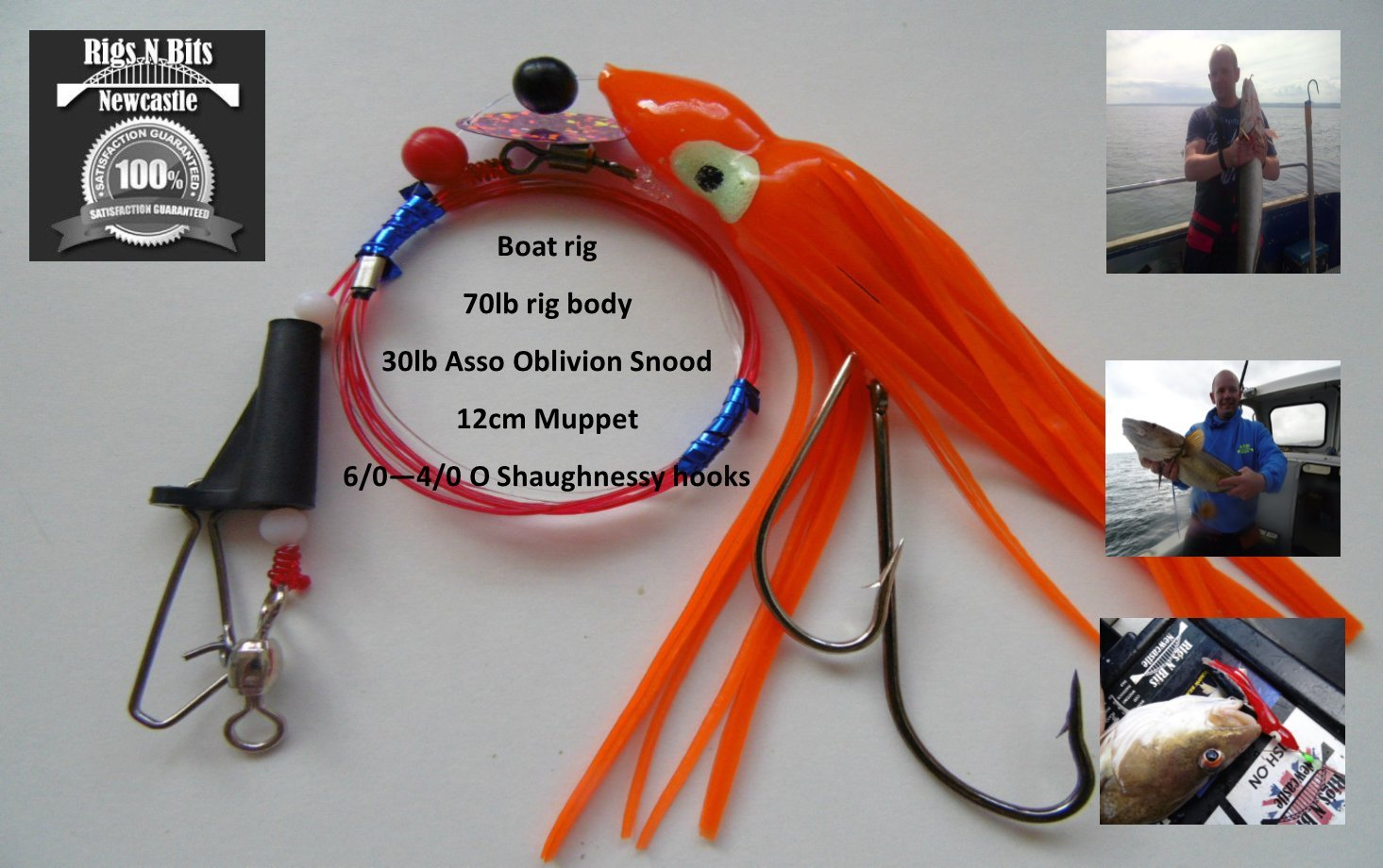 Sea fishing Rig x 6 Muppet Boom Pennel Rig Deep Sea Boat Rig 6//0-4//0 Cod