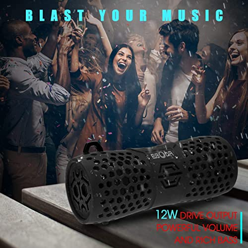 EBODA Waterproof Bluetooth Speaker, Portable Wireless IPX7 Outdoor Sport Music Speaker, 12W Premium Stereo Bass Sound, Aux, Built-in Shockproof Mic, Hands-Free for Shower, Bike, Beach, Hiking-Black