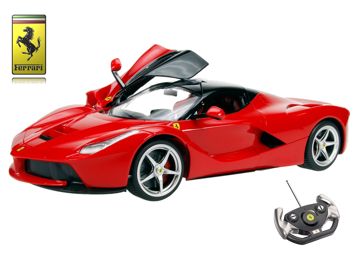 Playtech Logic Ferrari LaFerrari Remote Control Car - Opening Doors - Working Lights - La Ferrari Electric Radio Controlled RC Car - PL9353 Official Licensed 1:14 Ferrari F150 Model - RTR, EP (Red)