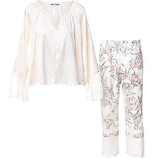 Matt Viggo Women Pyjama Set Lightweight Winter Loungewear Long Sleeves V- Neck Stitching Lace Hollow Top and Flower… 4026ef3e4