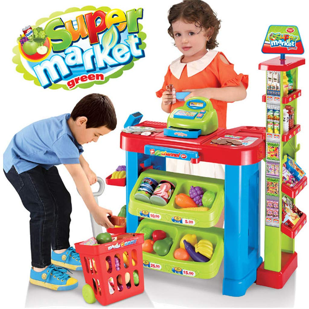 Hellofishly Supermarket Cash Register Toy Cash Register Pretend Toy Holiday Birthday Gift,Supermarket Playset with Included Grocery Cart Toy and Pretend Toys for Kids (22.8x19x5.7in)