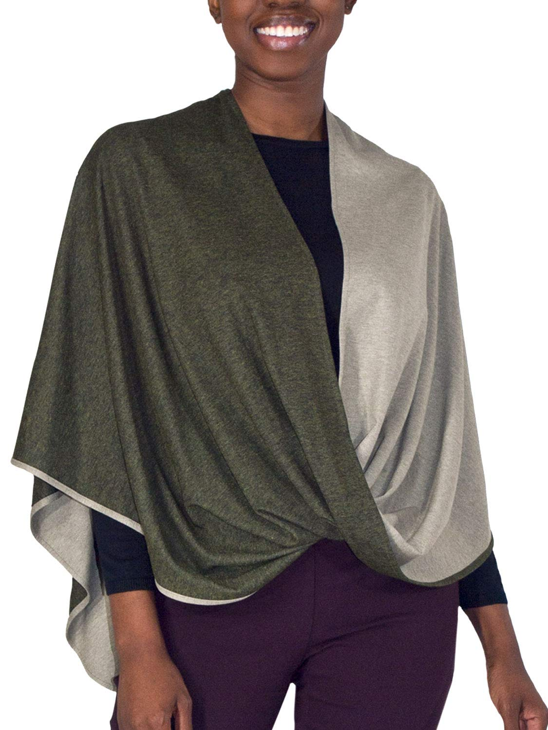 Beryl Infinity Shawl and Scarf - Luxuriously Soft 2-Tone Sage and Green Shawl from Erin Draper. Made in USA. (Medium Length)