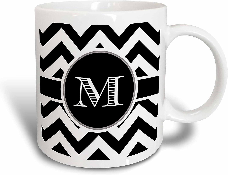 3dRose Chevron Monogram Initial M Mug, 11 oz, Black/White/Blue