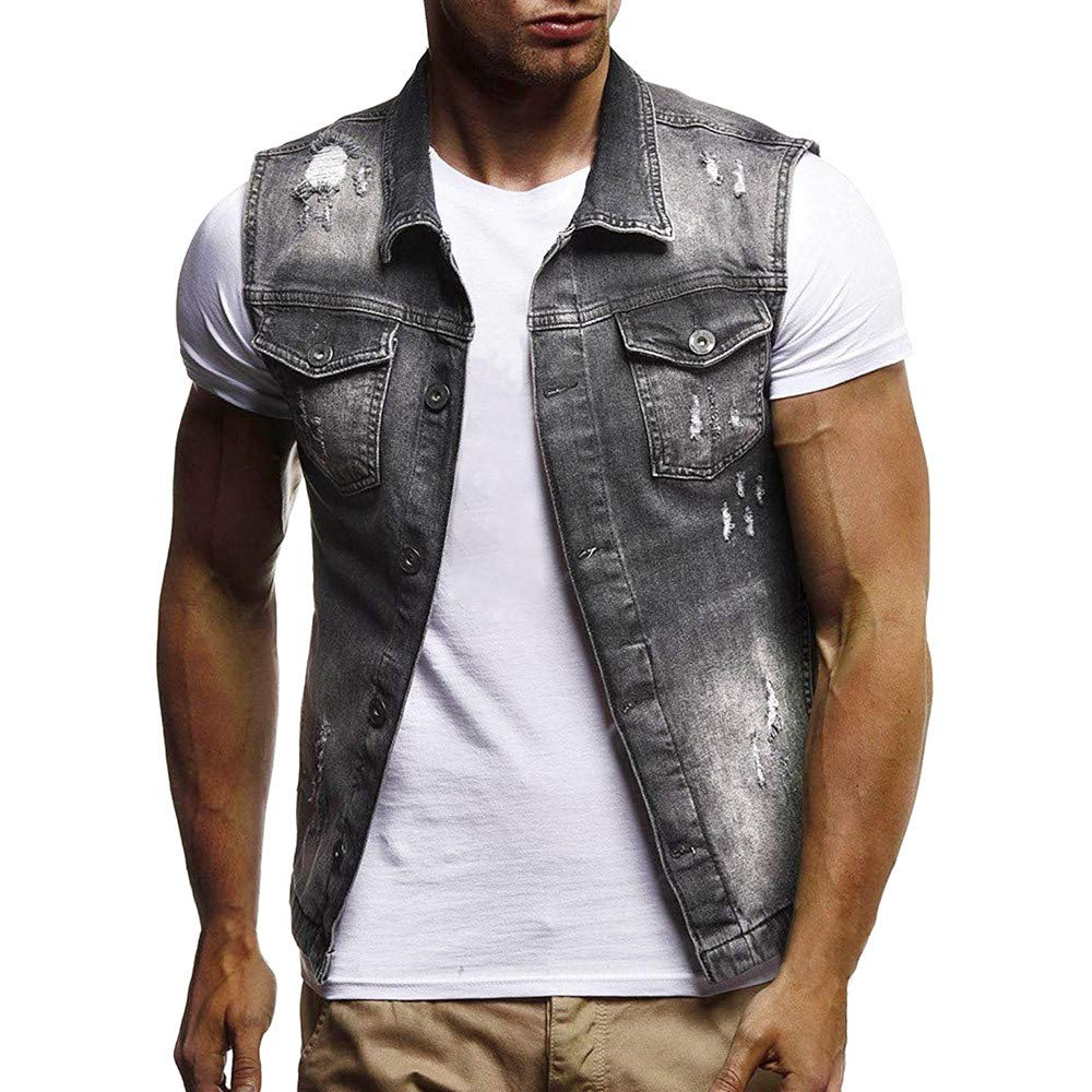 MODOQO Men's Denim Jacket Vest Sleeveless Button Vintage Summer Tank Tops Waistcoat