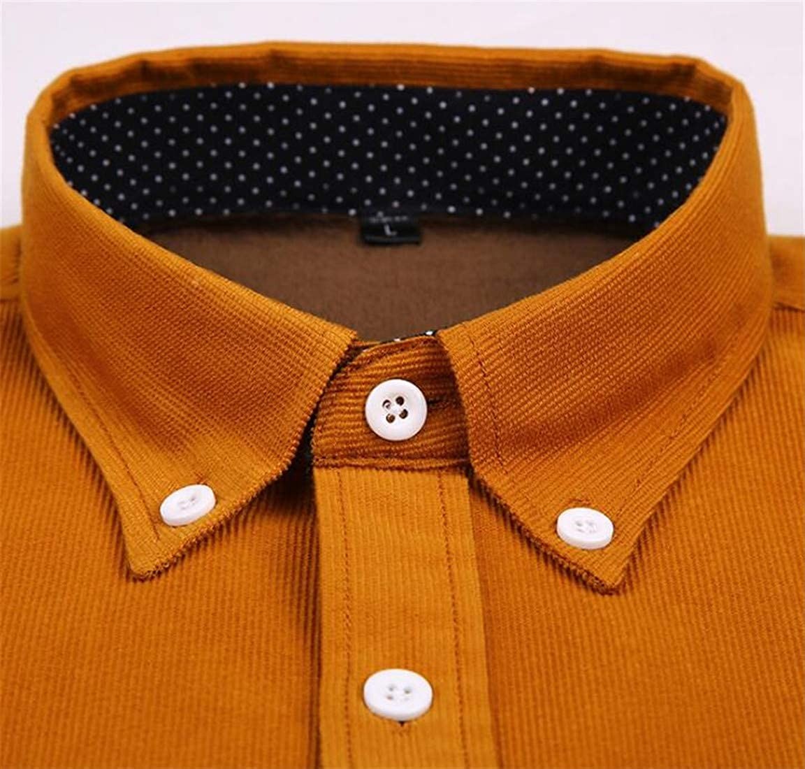 Domple Mens Long Sleeve Corduroy Solid Casual Winter Thermal Lined Button Down Shirt