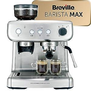 Espresso Siebträgermaschine mit integriertem Mahlwerk Breville VCF126X Barista Max