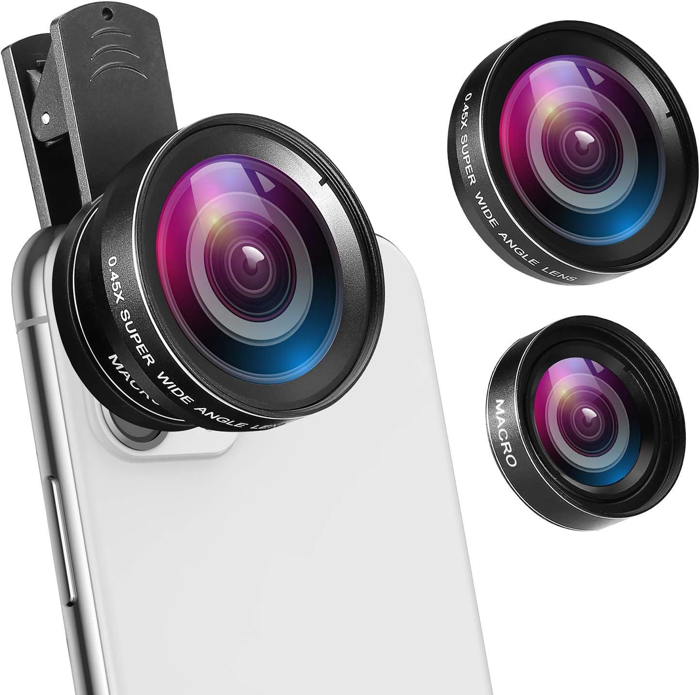 black Mobile Phone Camera Lens Kit Fish Eye Lens 2 in1 Macro Lens/& Super Wide Angle Lens with Black Universal Phone Clip