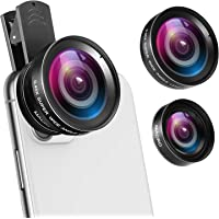 (Upgraded) Phone Camera Lens, 0.45X Super Wide Angle Lens, 15X Macro Lens, Clip-On 2 in 1 Professional for iPhone Lens…