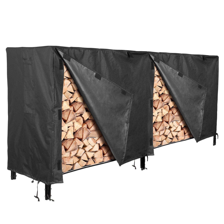 femor Log Rack Cover, 8 Feet 600D Heavy Duty Waterproof Patio Firewood Rack Cover, Black