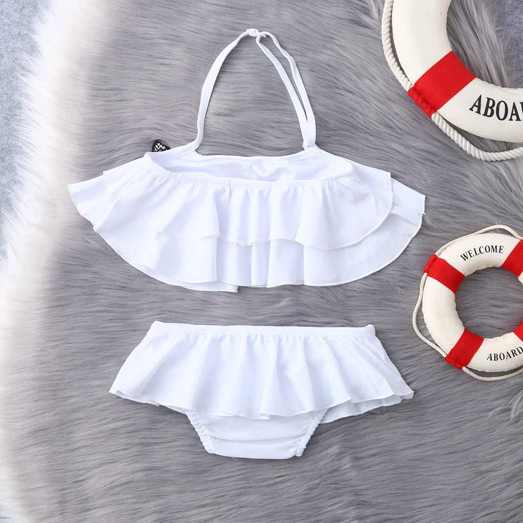 LiLiMeng Kids Baby Girls Two Pieces Bikini Set Ruffles Butterfly Print Summer Swimwear Swimsuit Outfits Bathing Suits