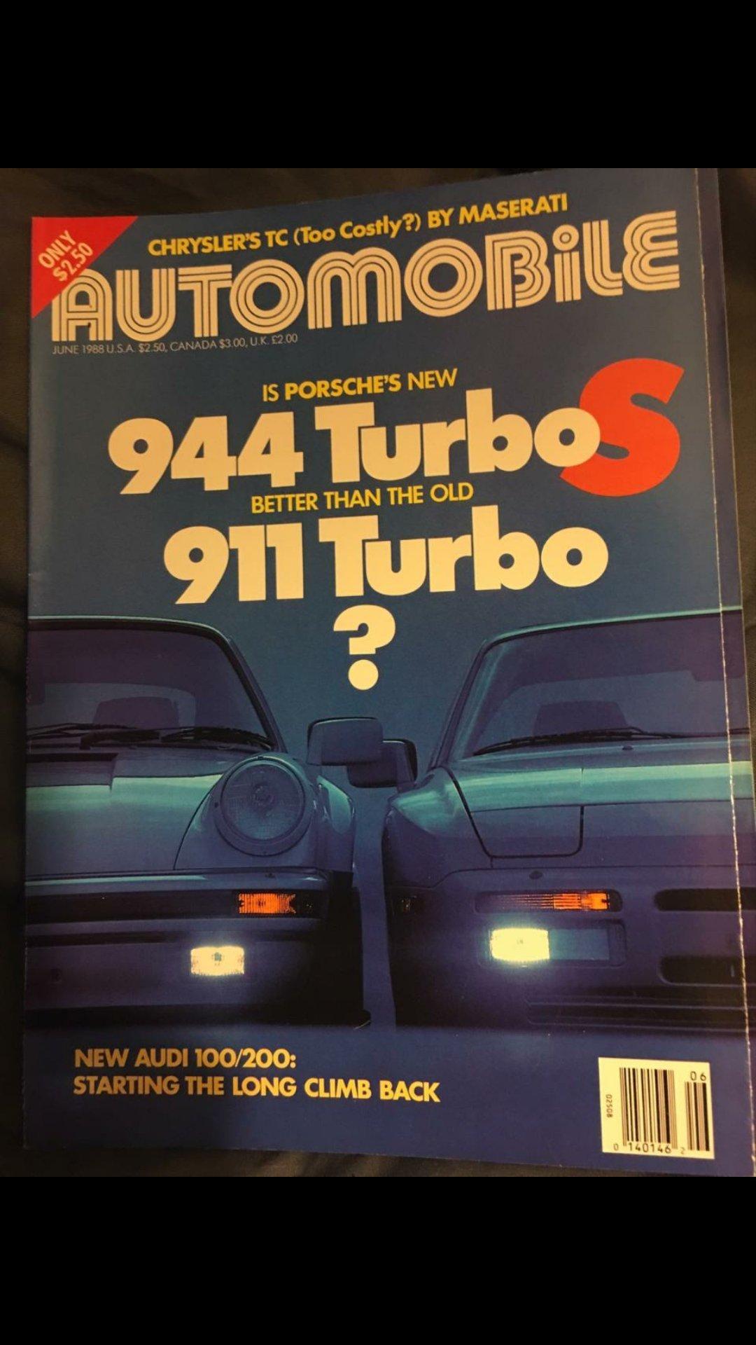 Automobile Magazine, June 1988: Porsche 944 Turbo vs 911 Turbo, Chrysler TC, Audi 100/200, Single Issue Magazine – 1970