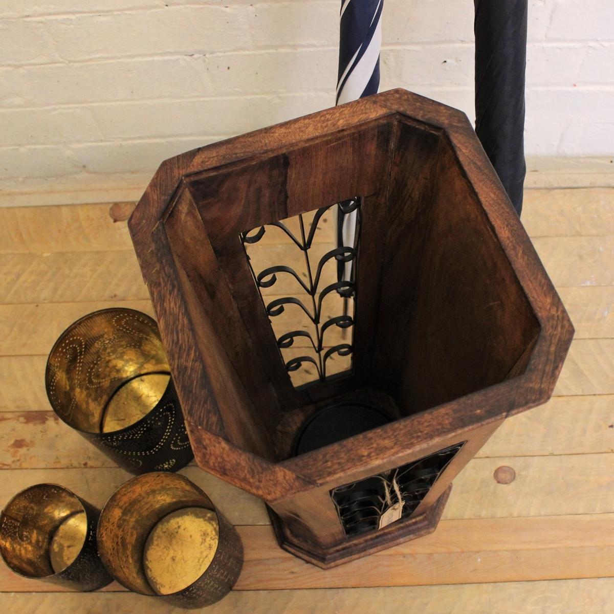 CE Hand Made Items Portaombrelli intagliato a mano in legno di mango indiana Jali ferro lavoro corridoio Home Gift