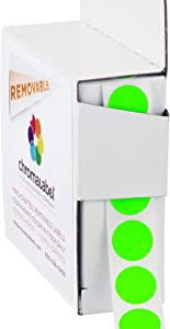 ChromaLabel 1/2 Inch Round Removable Color-Code Dot Stickers, 1000 per Dispenser Box, Fluorescent Green