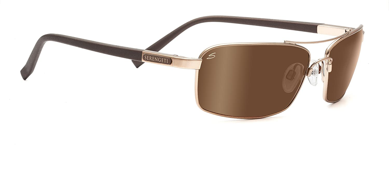 Serengeti Sunglasses Trapani 7600 Satin Dark Brown Polarized Drivers Gold Mirror