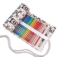abaría - Bolso para lápices, Estuche Enrollable para 36 48 72 lapices Colores, portalápices de Lona, Bolsa Organizador lápices para Infantil Adulto