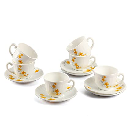 affe9e3c13 Cello Imperial Opalware Bella Cup and Saucer Set, 12-Pieces,  White/Frangipani
