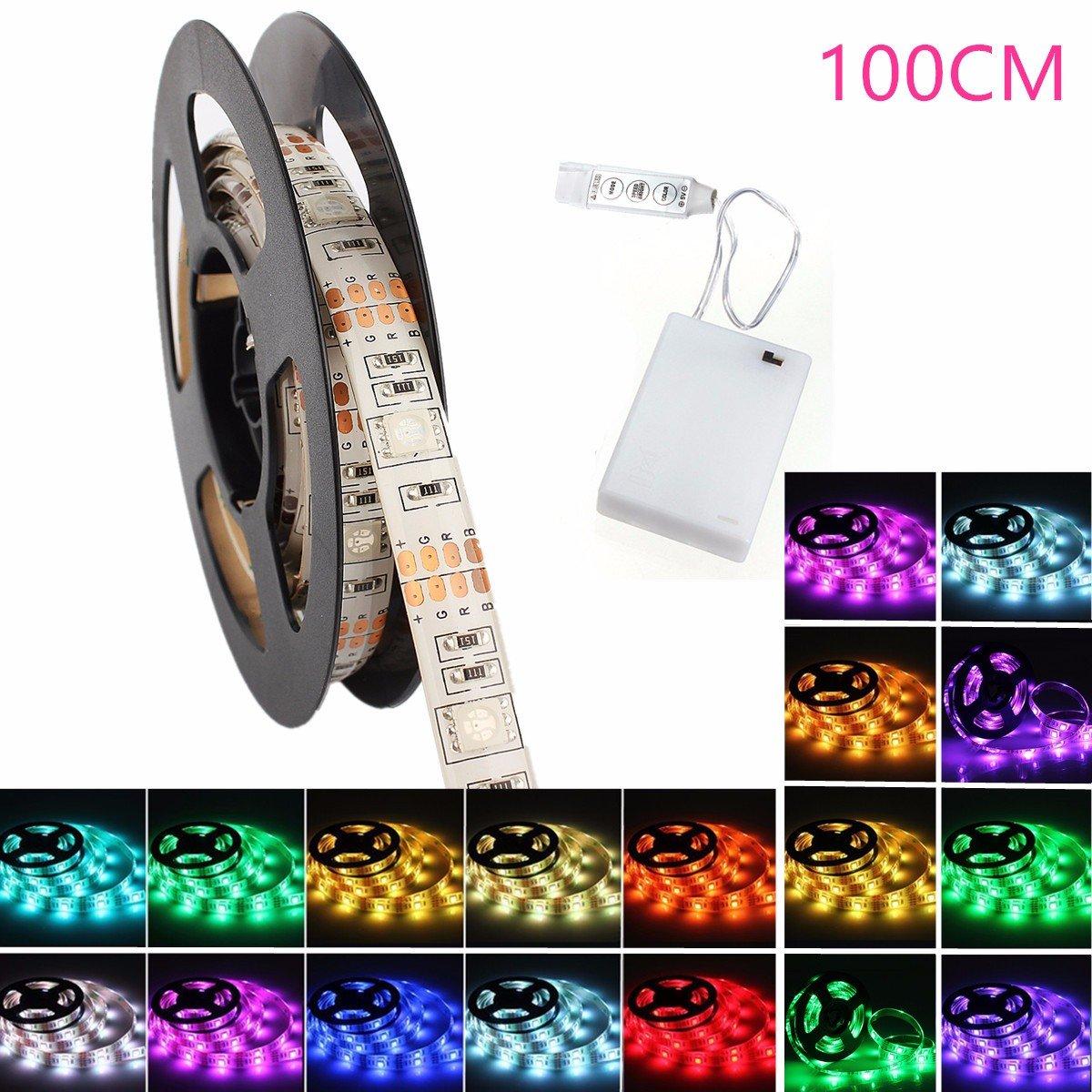 LED Streifen Strip, GLISTENY Flexible Lichter Band Leiste RGB 5050 SMD Lichtschlauch Wasserdicht IP65 Batteriebetriebenes Dekorative Licht Schnur DC4.5V + Battery Box 50cm [Energieklasse A++] Glisteny Co. Ltd