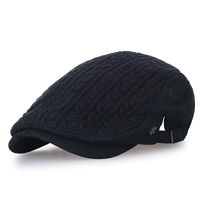 7c100efce94e8 ililily Large Size Wool-Blend Fitted Gatsby Newsboy Hat Cabbie Hunting Flat  Cap