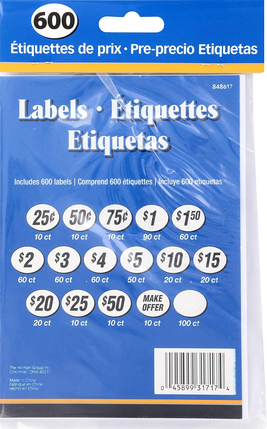 The Hillman Group 848617 Pre-Priced Labels