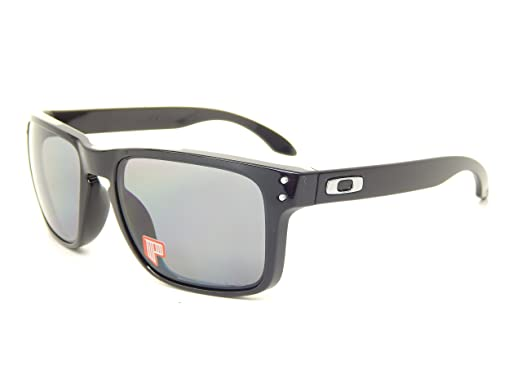 aeaff4d4cfeb4 New Oakley Holbrook Polarized 9102-02 Polished Black Polar Gray Lens 55mm  Sunglasses