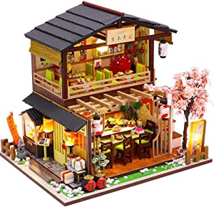 SYW Miniature Dollhouse with Furniture and LED Lights, Japanese Model Kit Wooden Dollhouse, 1:24 Scale Wooden Handmade Building Model Puzzle Toy (Sushi Shop )