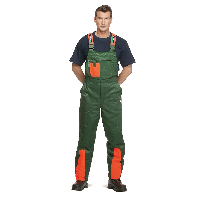 Herren Waldarbeiterhose Gr/ö/ße 58 Latzhose gr/ün//orange WOODSafe Schnittschutzhose Klasse 1 kwf-gepr/üfte Forsthose