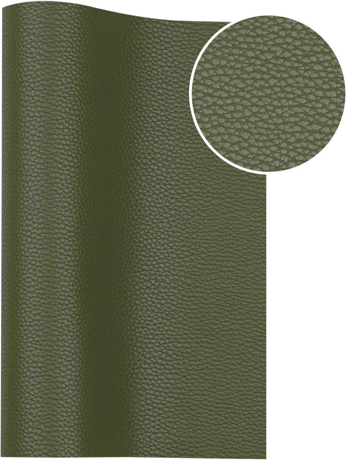 7.8X 53 Army Green Leather Fabric is Perfect for Leather Earrings and DIY Projects Ramya Solid Color Faux Leather Sheets