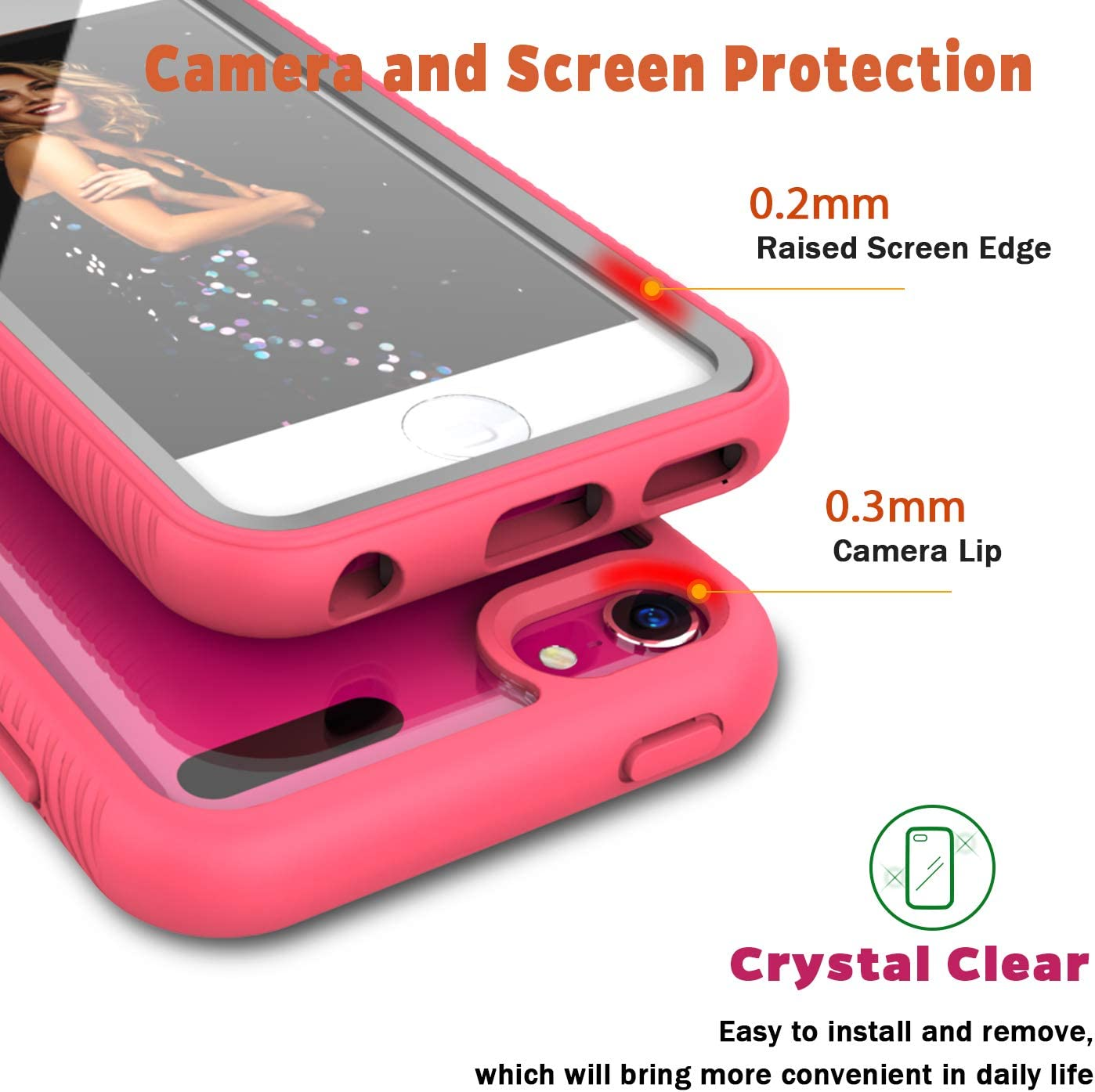 iPod Touch 6// iPod Touch 5,Dual Layer with Built-in Screen Protector Hybrid Anti-Slip Sturdy Case Rugged Shockproof Case for SApple iPod Touch 7th//6th//5th Generation Pink QQcase iPod Touch 7