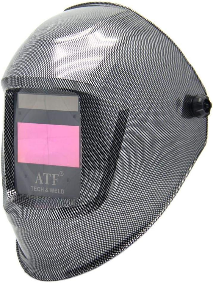 TAOTAO110 Casco de Soldadura, la protección de Seguridad, la máscara de Soldadura automática de regulación, de Corte Ajustable, molienda, Soldador, Fibra de Carbono, de Grado óptico: 1/1/1/1