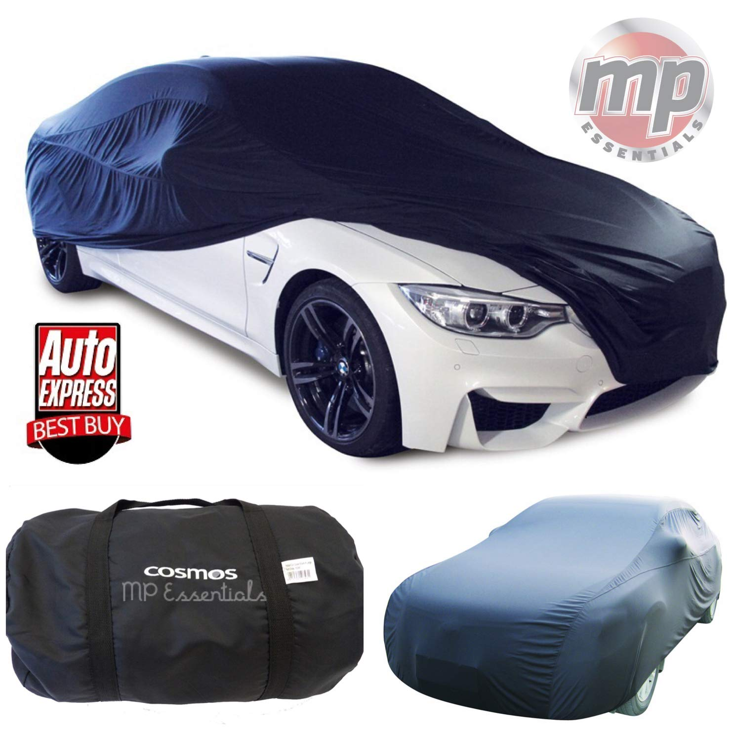 BLACK 516 x 139 x 120cm Extra Large MP Essentials Breathable Fabric Indoor Garage /& Showroom Full Car Cover