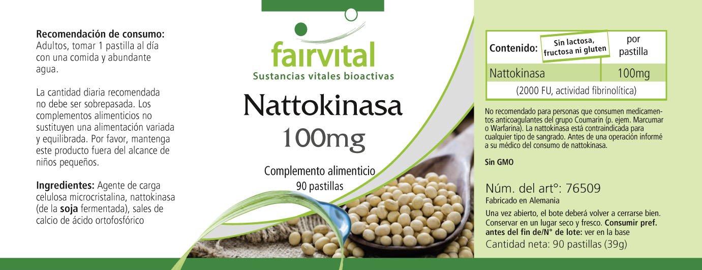 100 mg nattokinase - A GRANEL durante 3 meses - vegano - ALTA DOSIS - 90 tabletas - 2000 FU: Amazon.es: Salud y cuidado personal