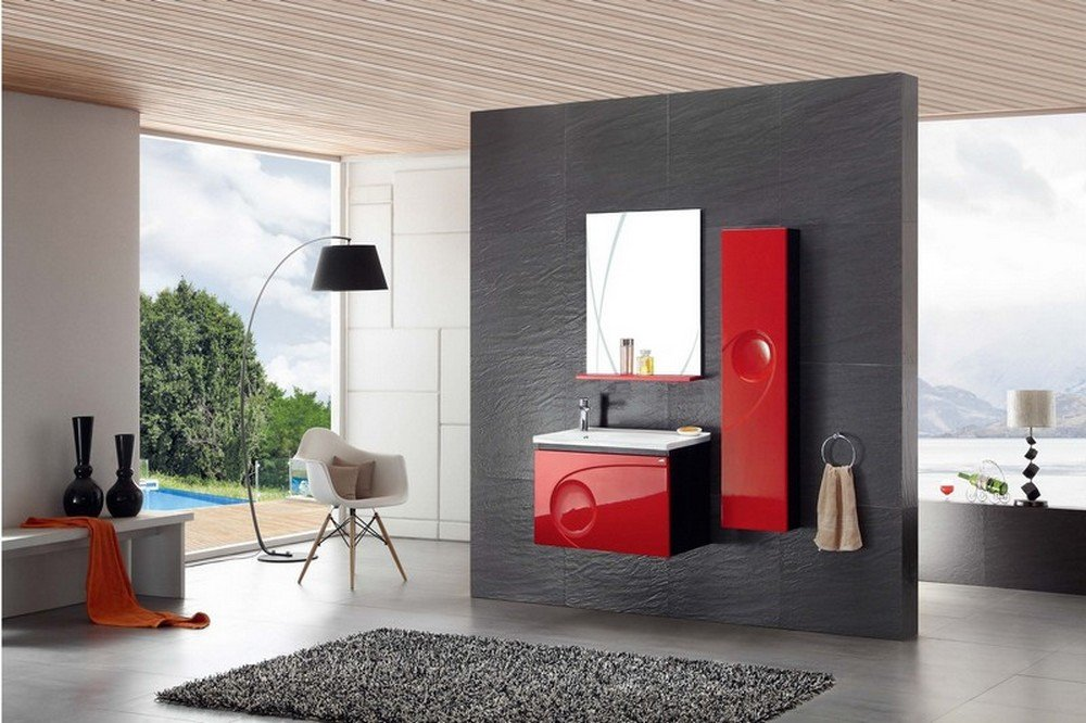Ensemble Salle De Bain Simple Vasque Rouge Laqu  Cm  Inae Rouge