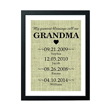 10e937d0 Boston Creative company Personalized Gifts - Grandma Gifts - Burlap Sign  Gifts for Girls - Funny