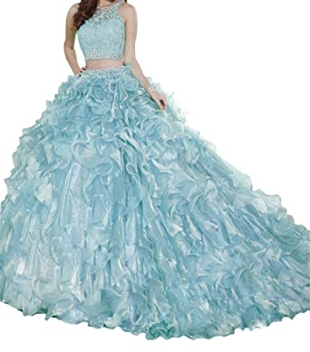 e98908b33ce MCandy Sweet Girls 15 16 Ball Gowns 3 Pieces Pageant Quinceanera Dresses  Light Blue 0 US