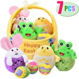 Mitcien Baby My First Easter Basket Stuffers Fillers Stuffed Plush Bunny Chick Egg Playset Easter Eggs Toys Gifts for Kids Toddlers Babies Boys Girls, 7 Pieces