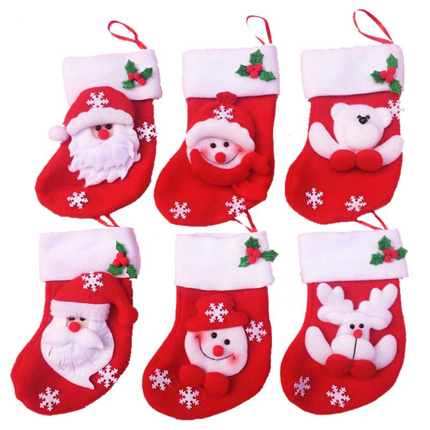 HMILYDYK 6Pcs Christmas Santa Stockings Decorations Hanging Candy Gift Bag Socks Kitchen Tableware Holders Set Cutlery Bags for Home Garden Decor