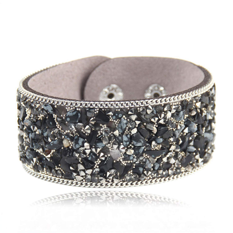 Hot Ssle Fashion Women Charm Wrap Bracelets Slake Leather Bracelets with Crystals Stone Couple Jewelry Size 2.821Cm New