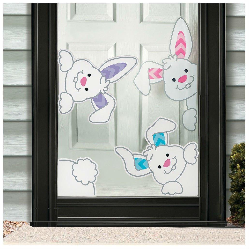 Easter Spring Peeking Bunnies Window Clings Decor